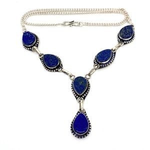 Lapis Lazuli Gemstone Sterling Silver Necklace